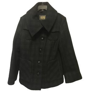 MACKAGE Plaid Bell Sleeves Wool Car Coat Jacket Leather Pockets Lined Collar